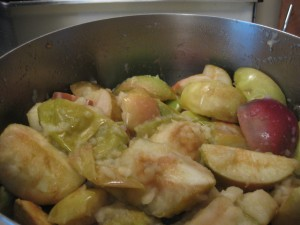 apples cooking down in pot