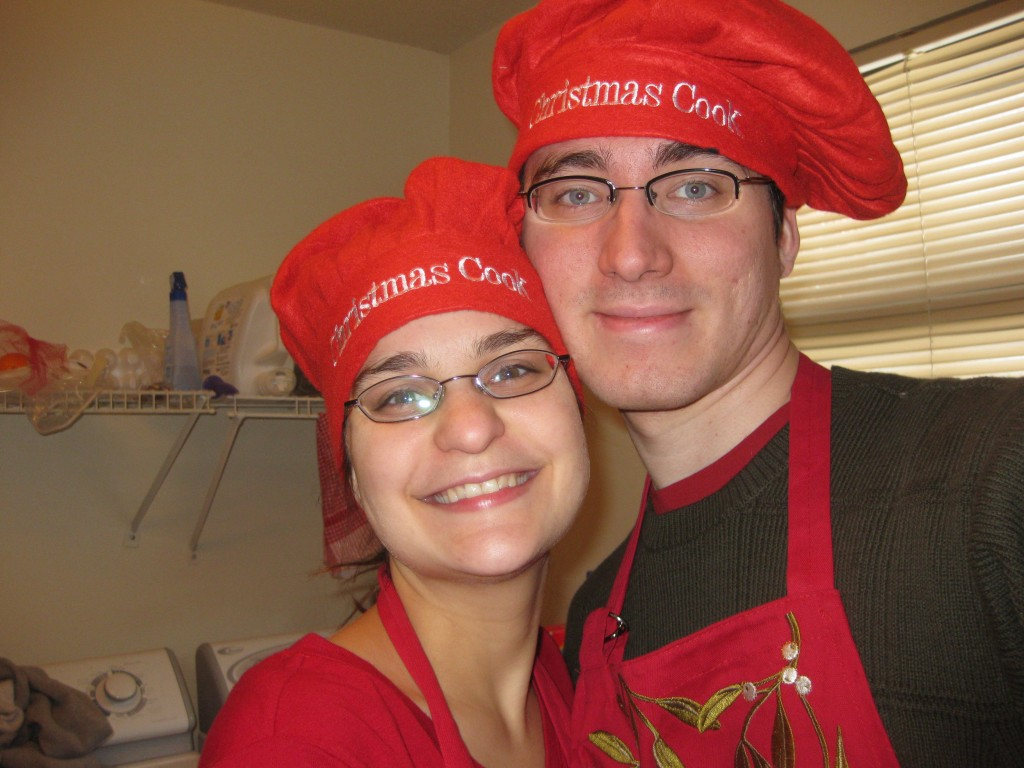 Suzi and Chris with funny cook hats