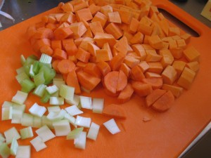 celery, carrots and sweet potatoes